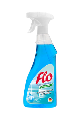 FLO<sup>&reg;</sup> LIQUID FOR CLEANING GLASS AND MIRRORS WITH ALCOHOL